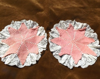 Vintage Hand Crocheted Doily with Lace & Satin Ribbon Pink with White Lace Antique Linen Antique Doily