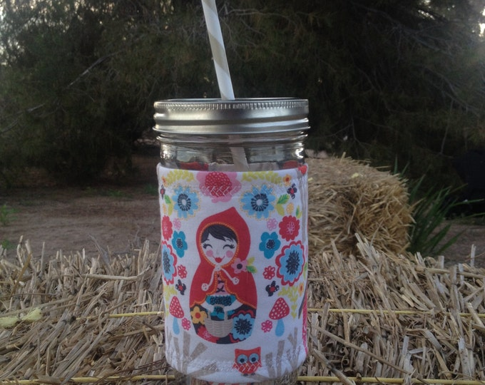 Mason Jar Tumbler 24oz -Insulated Cozy- Red Riding Hood - BPA free straw - personalized