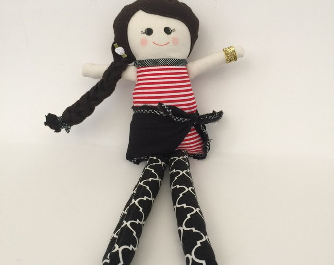 Pirate Girl Fabric Rag Doll 14""