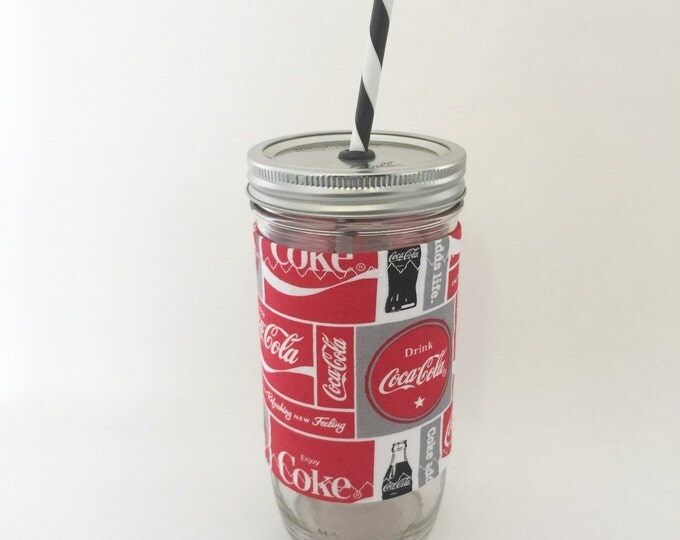 Mason Jar Tumbler 24oz - Coca- Cola Insulated Mason Jar Sleeve - BPA free straw