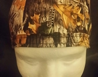 Woodland Hunting Fall Autumn Foliage Tie Back Surgical Scrub Hat
