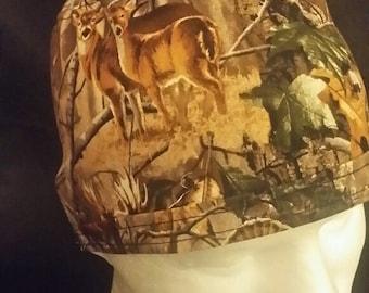 Woodland Hunting Bear Deer Turkey in Foliage Tie Back Surgical Scrub Hat