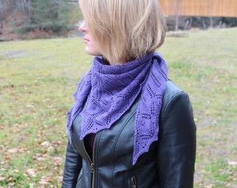 Hand Knit Purple Shawl/Scarf 2.0