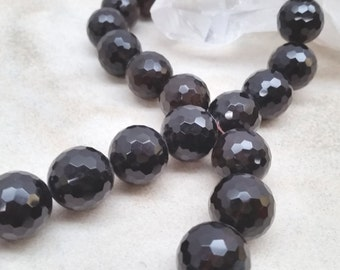 Smoky Quartz Faceted Round 20mm Beads