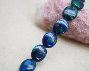 Azurite Flat Oval Beads - 8x12mm & 10x12mm