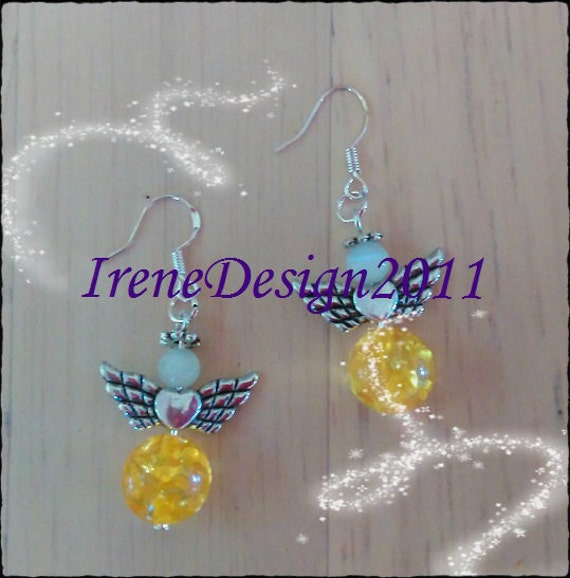 Handmade Silver Guardian Angel Earrings with Amber & White Opal by IreneDesign2011