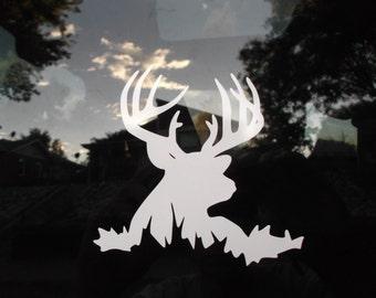 Deer Hunter White Vinyl Decal