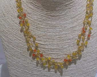 Yellow  necklace -  Orange Necklace - Swarovski necklace - swarovski jewelry - gift for her -  crocheted necklace - From Israel