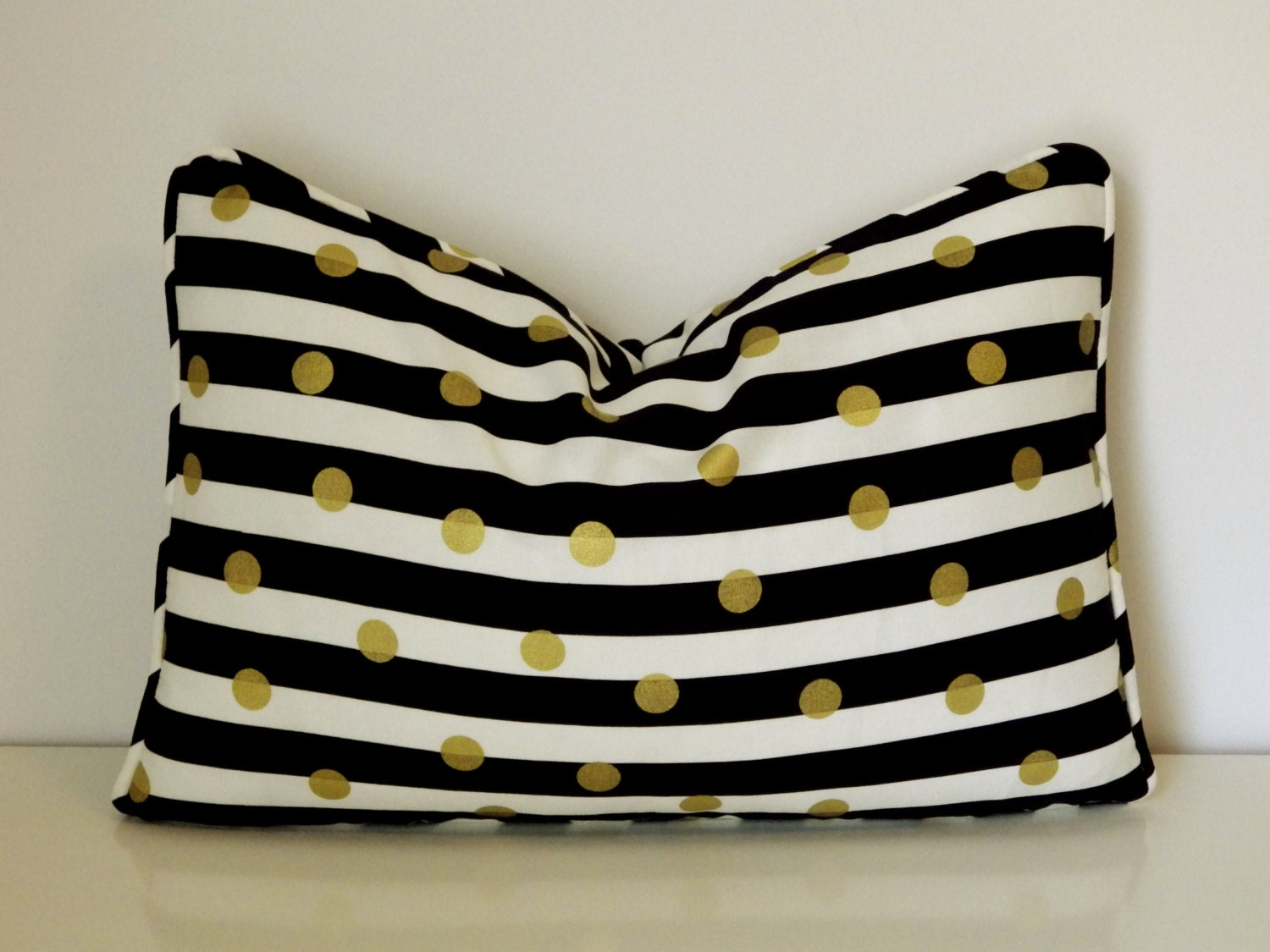 BlackWhite and Gold Stripe Lumbar Pillow Cover Black and