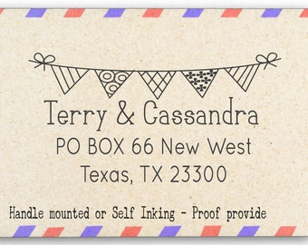 Personalized Rubber Stamp - Custom Address Stamp - Bunting - AW68
