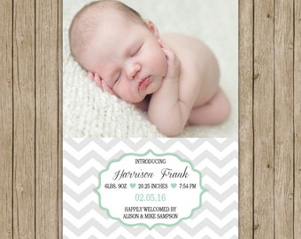 Custom photo birth announcement with chevron- digital file 5x7