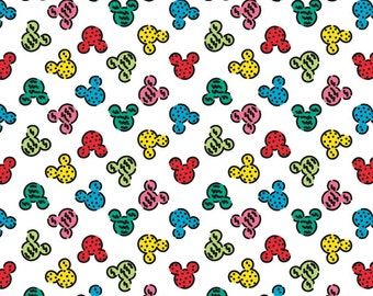 Per Yard, KNIT Disney Delicious Mickey Heads Fabric From Springs Creative