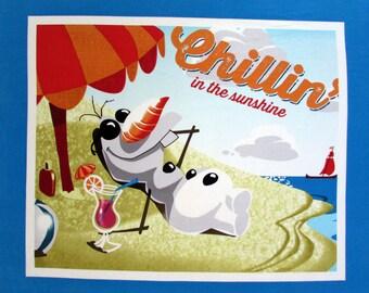 Disney Olaf Chillin in the Sunshine Fabric Panel