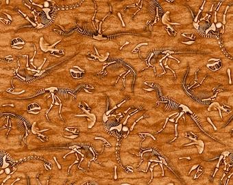 Per Yard, Jurassic Jungle Dinosaur Skeletons Terracotta Fabric From Quilting Treasures