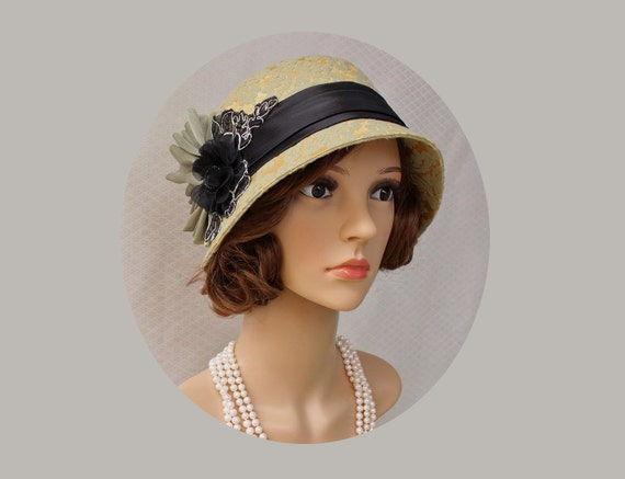 1920s Style Hats Great Gatsby cloche hat in gold light olive green and black flapper hat 1920s cloche hat Downton Abbey hat Charleston hat Tea hatt $125.00 AT vintagedancer.com