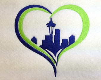 Seattle Skyline - HEART - Love Seattle - Embroidery Design -   DIGITAL Embroidery DESIGN