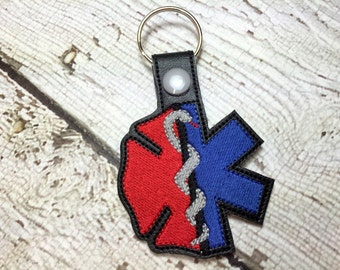 Fire and EMS Combined Filled - Fireman- Firefighter - Paramedic - EMT - In The Hoop - Snap/Rivet Key Fob - DIGITAL Embroidery Design