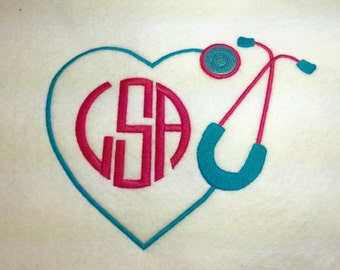 Heart Stethoscope Border for Monogram - Nurse - Medical - 4 Sizes Included - Embroidery Design -   DIGITAL Embroidery DESIGN