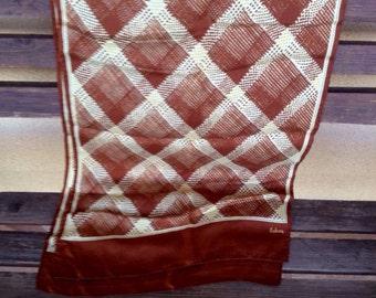 Silk Scarf,  Brown and White Scarf, Geometric design Scarf, Silky Scarf, 60's Scarf, 60's Fashion, Bohemian Scarf