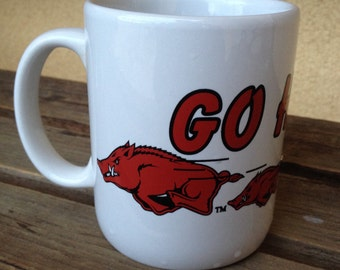 Go Hogs Mug Arkansas Razorbacks Mug Collectible College Football Sports, Go Hogs Coffee Cup, Arkansans Football Mug, Collectible Rare