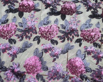 1 Yard Sequin Dress Fabric, Sequin dresses, Floral sequin Fabric,Sequin Lace Fabric, Floral Fabric