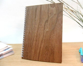 Wooden Notebook - A5 size - Wooden journal/8.3 x 5.9 inch, Walnut, MicroWOOD