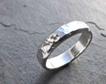 mens ring silver mens wedding band men engagement ring hammered silver ring - Wedding Ring For Him