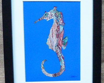 Seahorse Print Seahorse Painting Seahorse Illustration-'Seahorse In Blue' a bright gorgeous print for anywhere and anyone.Lovely gift choice