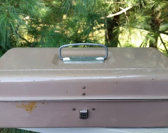 1960s Tackle Box with Lock & Key Plus Ruler on Lid Light Brown