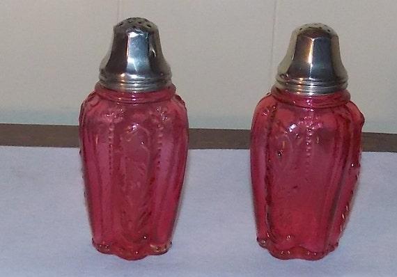 Cranberry Panelled Sprig pattern Salt and Pepper