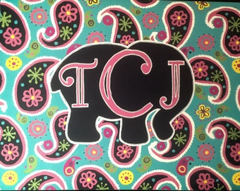 Made to Order-Elephant Monogram Canvas-Handpainted Paisley Pattern