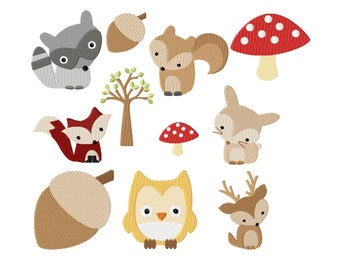 Embroidery Design Set Timberland animals 4'x4' - DIGITAL DOWNLOAD PRODUCT