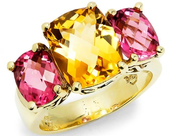 Three Stone Gemstone Ring with Citrine & Pink Tourmaline's 14kt Yellow Gold 6.50ctw