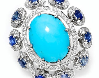 Large Turquoise Cocktail Ring with Sapphires & Diamonds 14kt White Gold 13.00ctw