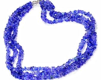 Blue Sapphire & Diamond Necklace Triple Strand Multi-Faceted Cut White Gold