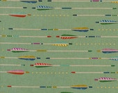 Cotton and Steel Arrows with Gold Metallic on Mint Linen Mustang by Melody Miller