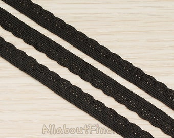 CHN129 -BL //  Black Fabric Arch Textured Elastic Band Lace Chain, 1 yd.