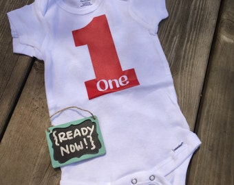 12 Month onesie -> { READY to ship NOW } - 1st Birthday ONE