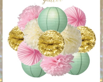 Ivory, Light Pink, Mint Green and Gold - Sweetie Pie Pom Poms and Lanterns Set