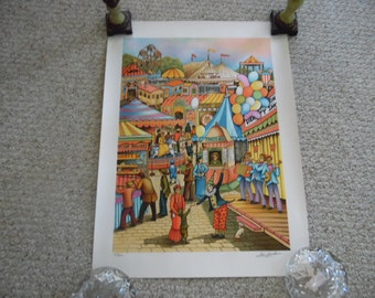 At the Fair is a limited edition, offset lithograph, hand signed by    Ari Gradeus