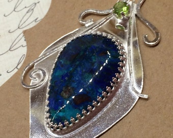 Peacock Feather Pendant, Azurite Pendant, Chrysocolla Pendant, Silver Pendant, Peridot Pendant, Sterling Pendant, Artisan, Pendant under 500