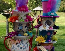 Pair of Teapot/Teacup Centerpieces w/ Mushrooms, Butterflies & Hats (#1) - Mad Hatter Tea Party, Alice in Wonderland Birthday, Baby Shower