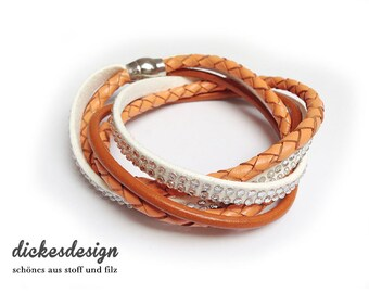 Wrap bracelet «orange/white variation».