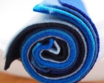 Kunin Ecofi Felt in 5 BEAUTIFUL BLUE SHADES Per Pack - Washable and Ironable Eco Felt! Free P&P