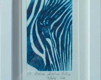 Limited edition etching blue zebra