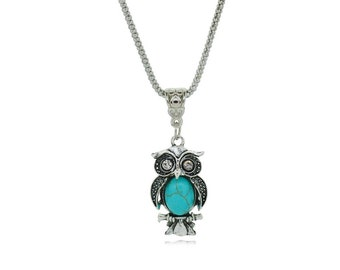 Vintage Turquoise Owl Pendant Necklaces for Women