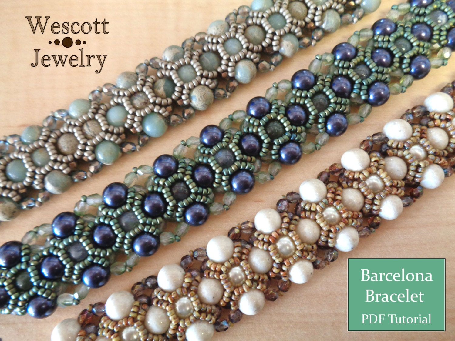 Pattern For Barcelona Bracelet With Pearls Seed Beads And