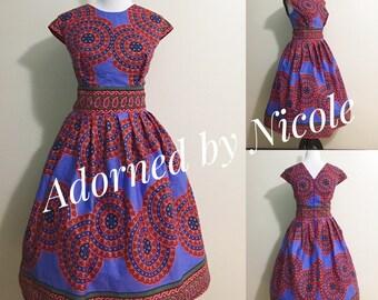 African Print Lilac Dress