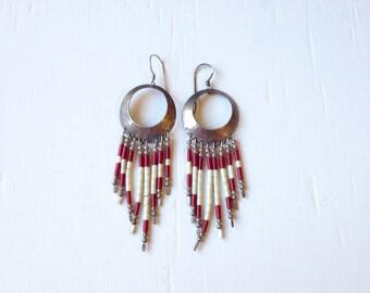 25% OFF SALE Vintage Indian Sterling Beaded Earrings // Red Beaded Navajo Earrings // Indian Silver Jewelry