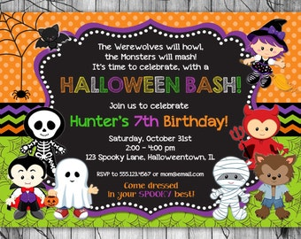 HALLOWEEN Birthday Invitation, PRINTABLE Kids Halloween Party Invitation, Costume Party Invitation, Halloween Birthday Party Invitations Boy